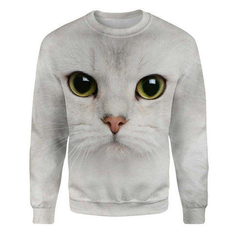 White Cat Face Hair Sweatshirt