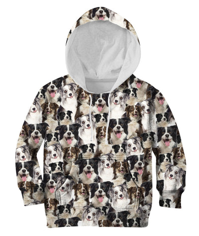 Border Collie Full Face Kids Hoodie