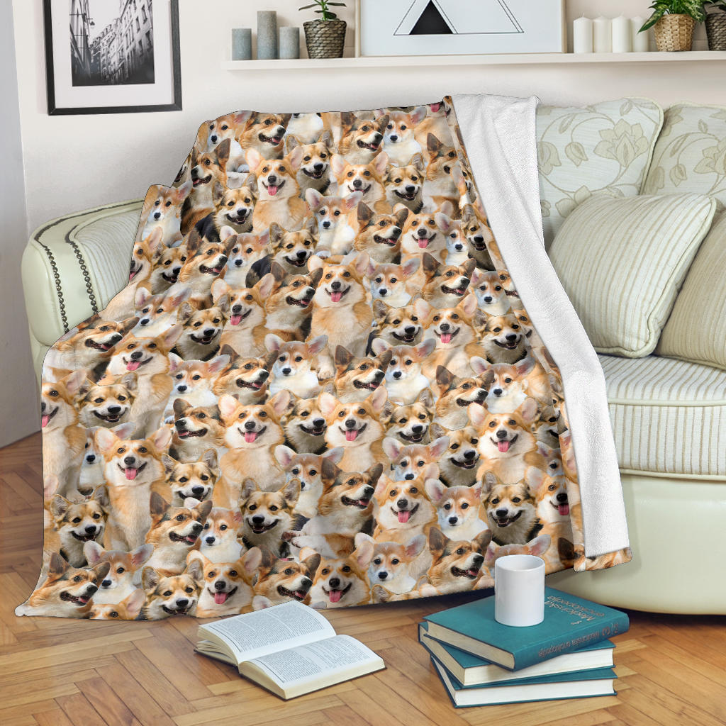 Welsh Corgi Full Face Blanket