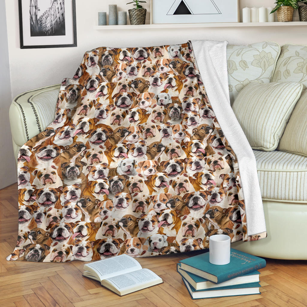 English Bulldog Full Face Blanket