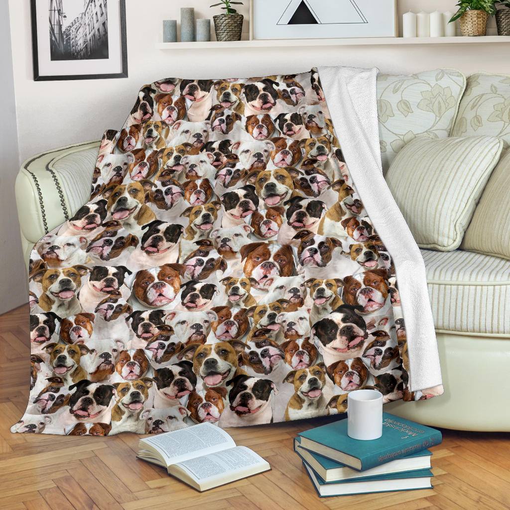 American Bulldog 1 Full Face Blanket