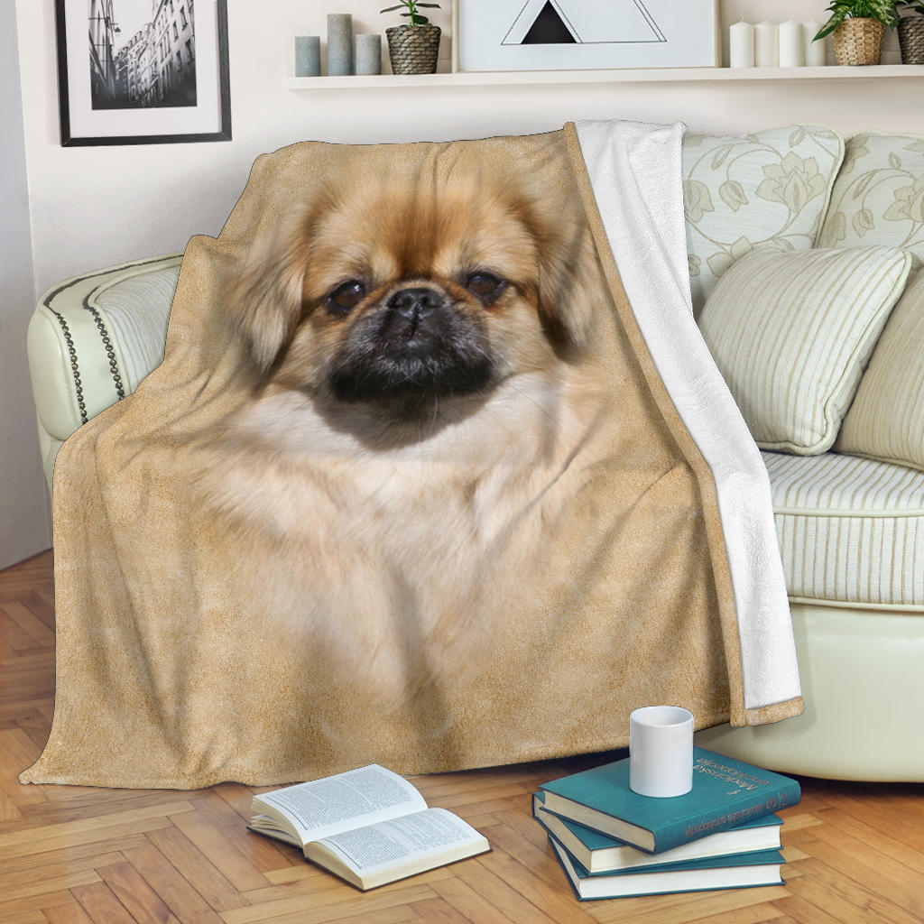 Tibetan Spaniel Face Hair Blanket