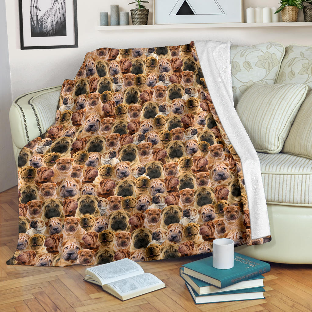 Shar Pei Full Face Blanket