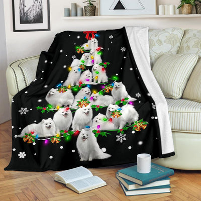 Japanese Spitz Christmas Tree Blanket