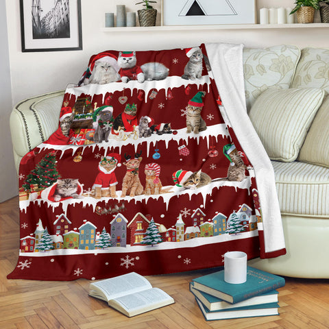 Cat Snow Christmas Blanket