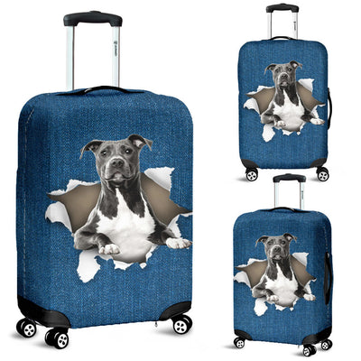 American Staffordshire Terrier Torn Paper Luggage Covers
