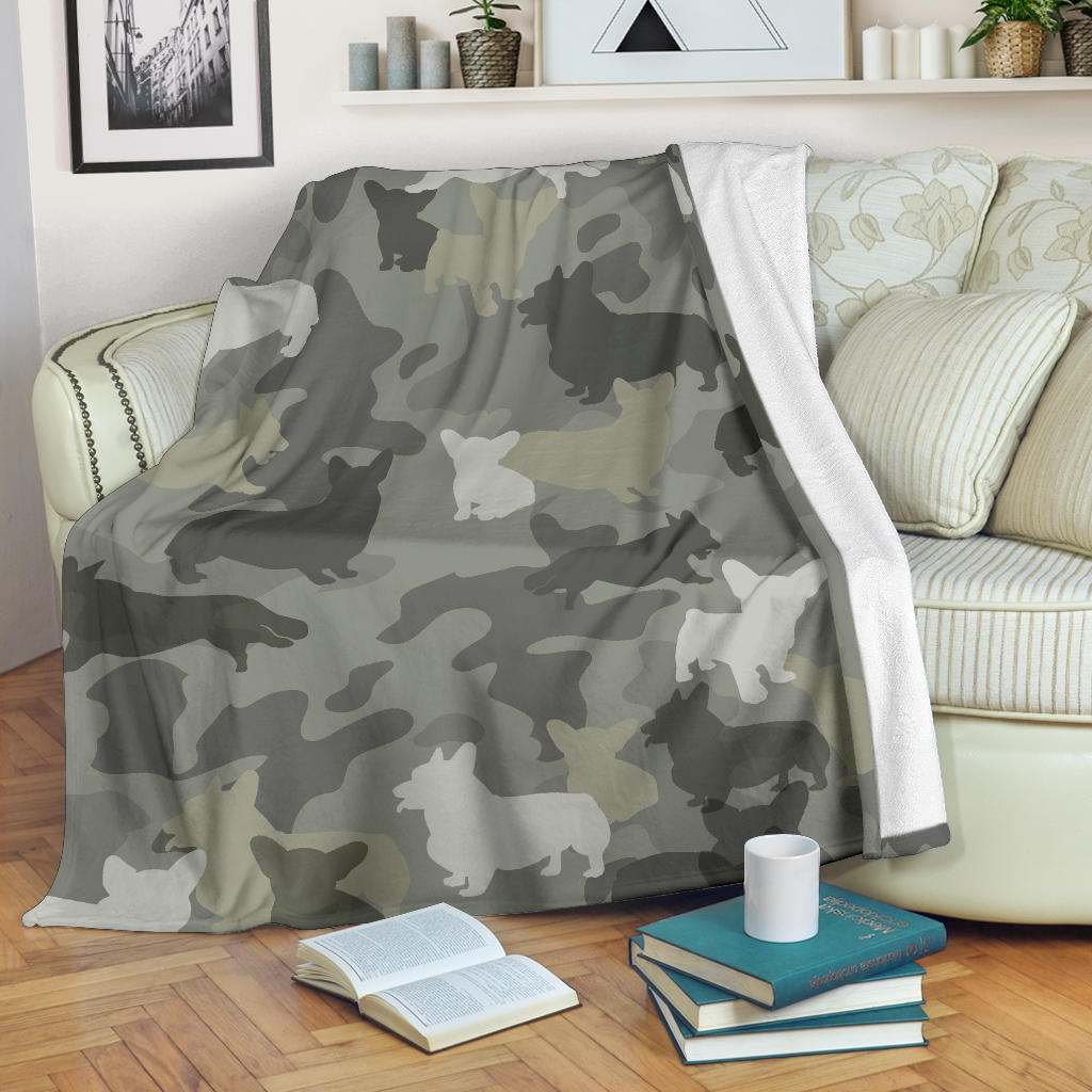 Welsh Corgi Camo Blanket