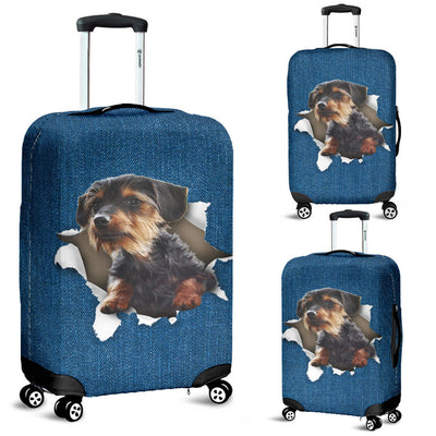 Dorkie Torn Paper Luggage Covers
