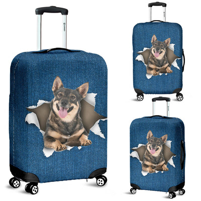 Swedish Vallhund Torn Paper Luggage Covers