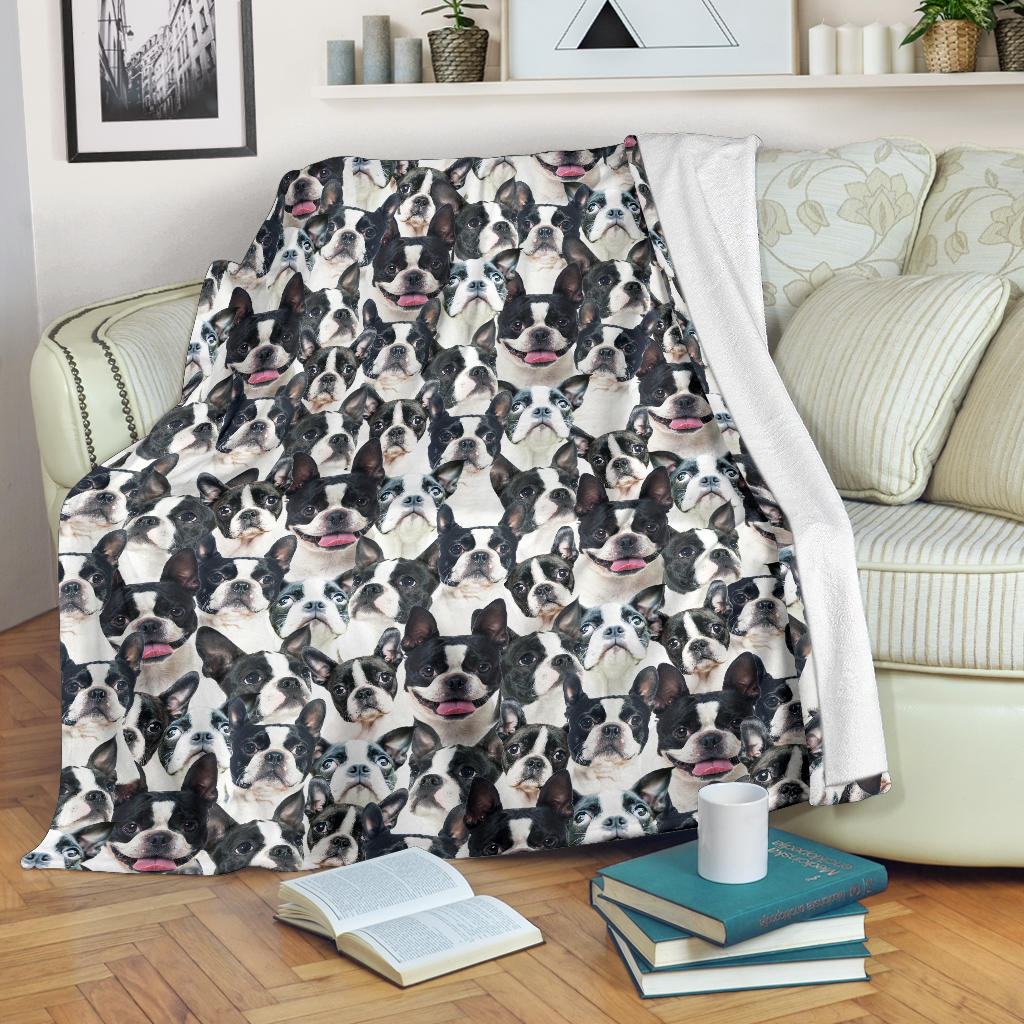 Boston Terrier Full Face Blanket
