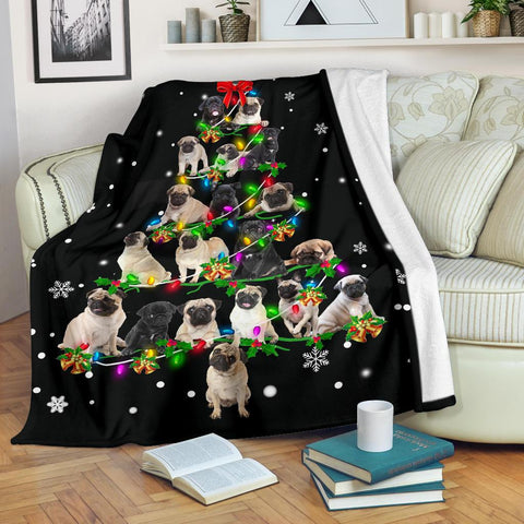 Pug Christmas Tree Blanket