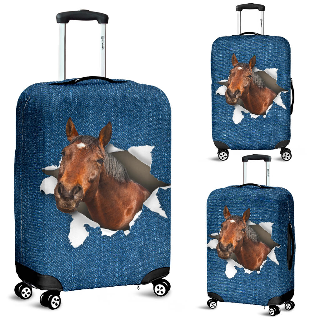 Horse Torn Paper Luggage Covers