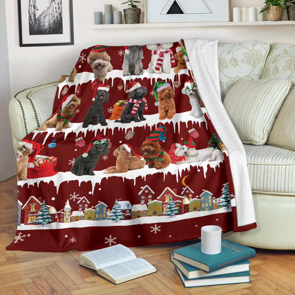 Poodle Snow Christmas Blanket