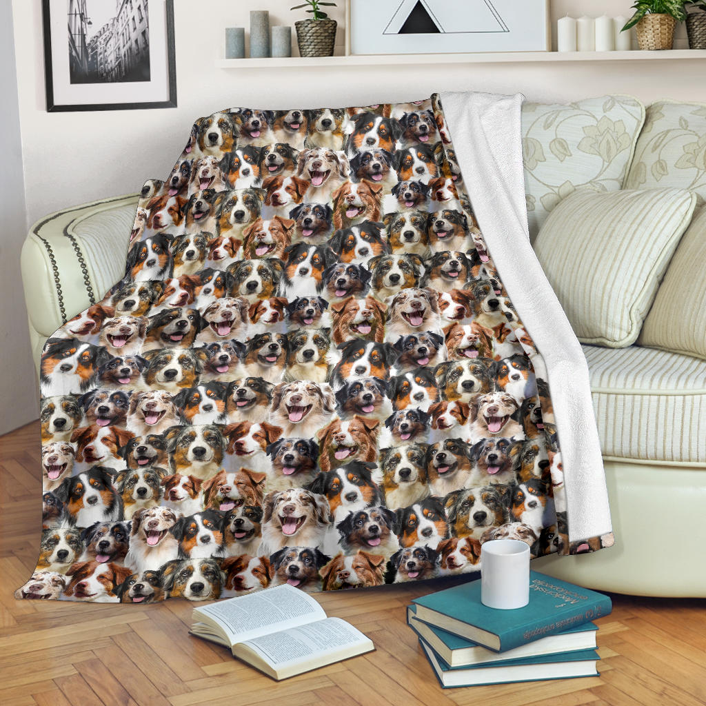 Australian Shepherd Full Face Blanket
