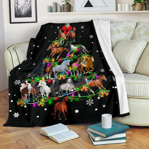 Horse Christmas Tree Blanket