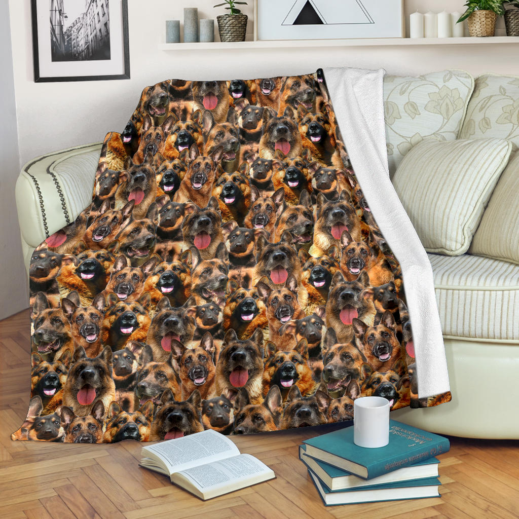 German Shepherd Full Face Blanket