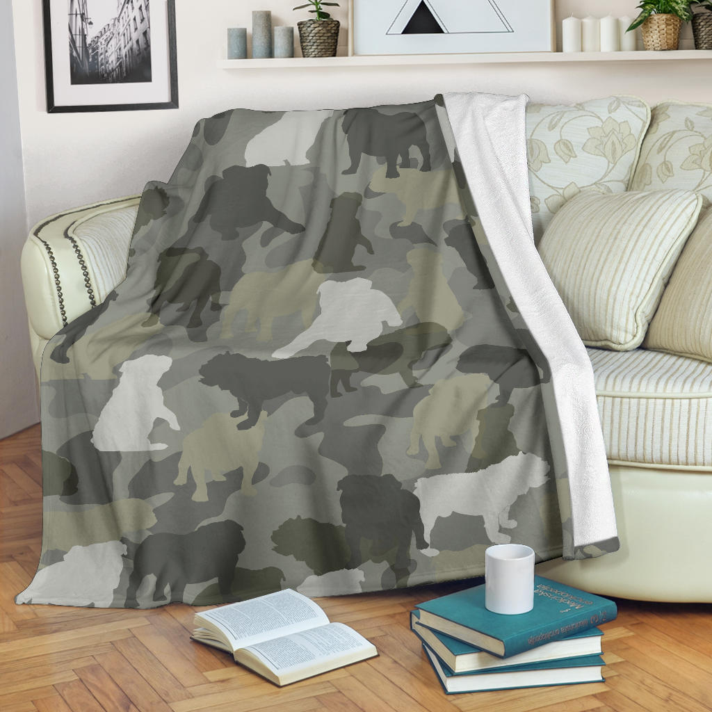 English Bulldog Camo Blanket
