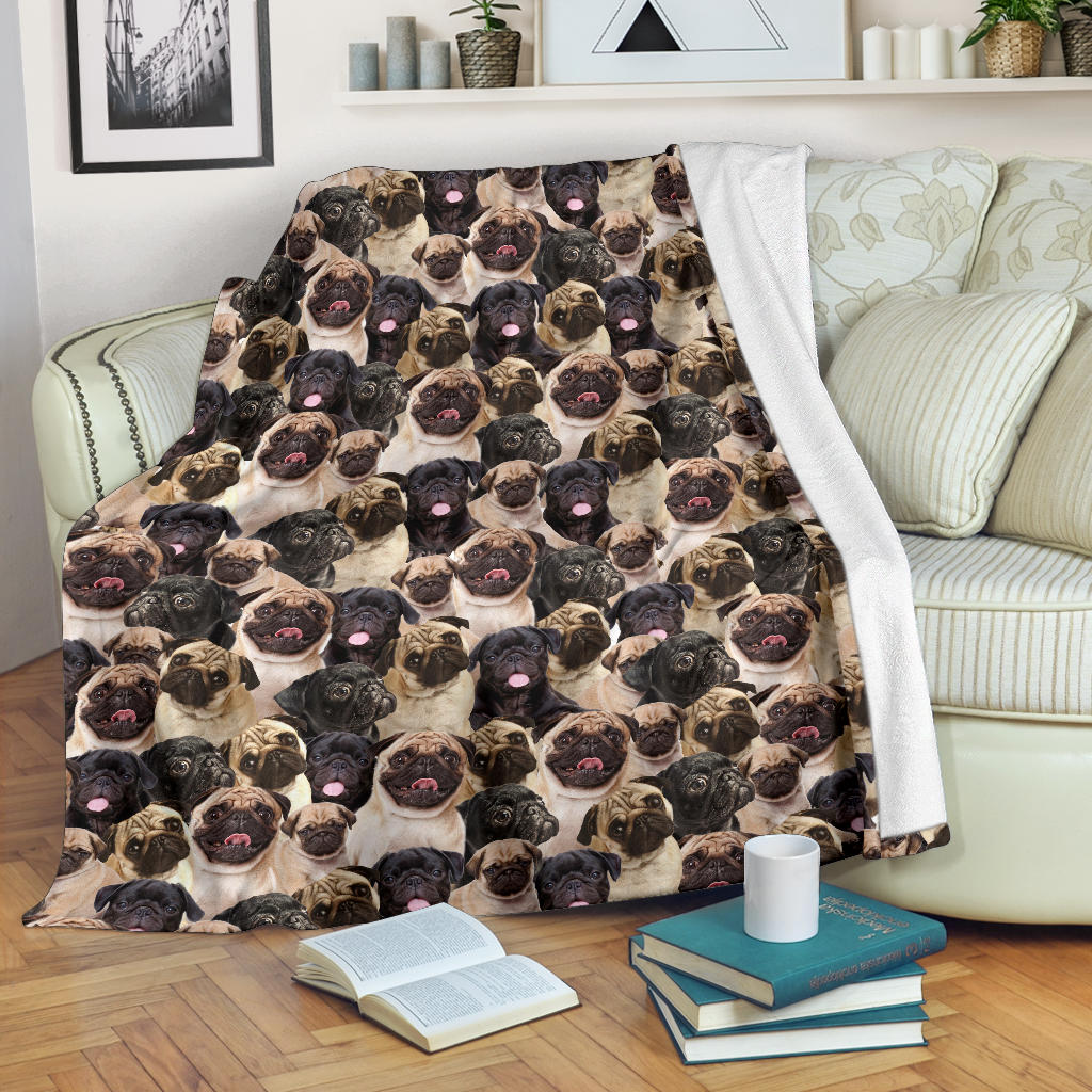 Pug Full Face Blanket