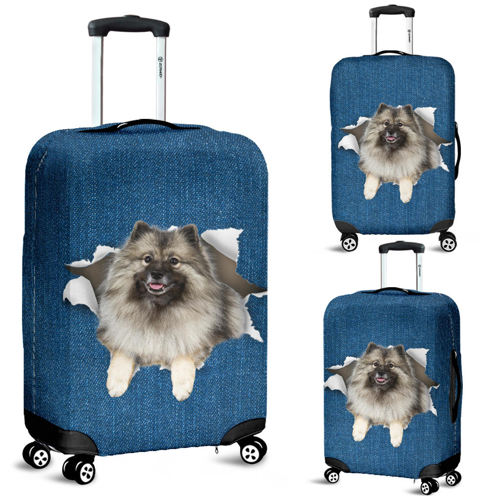 Keeshond Torn Paper Luggage Covers