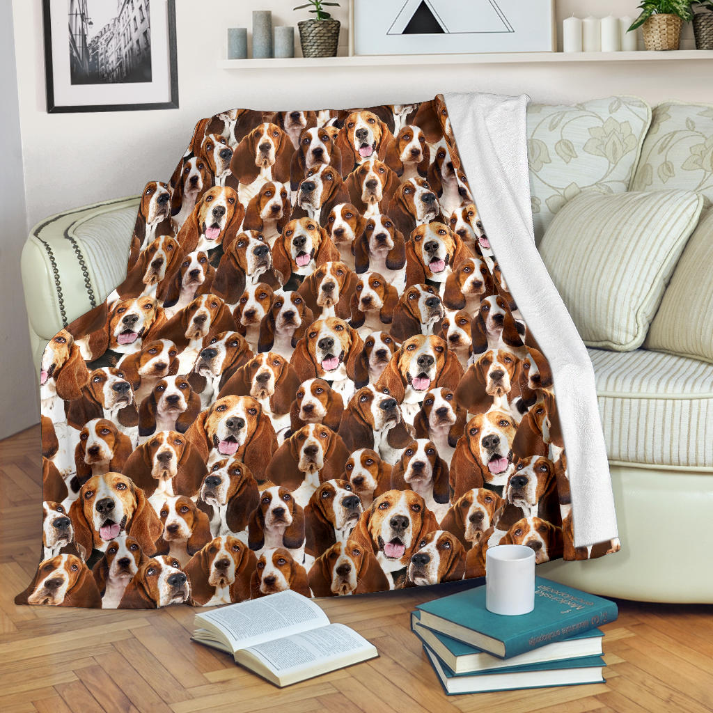 Basset Hound Full Face Blanket