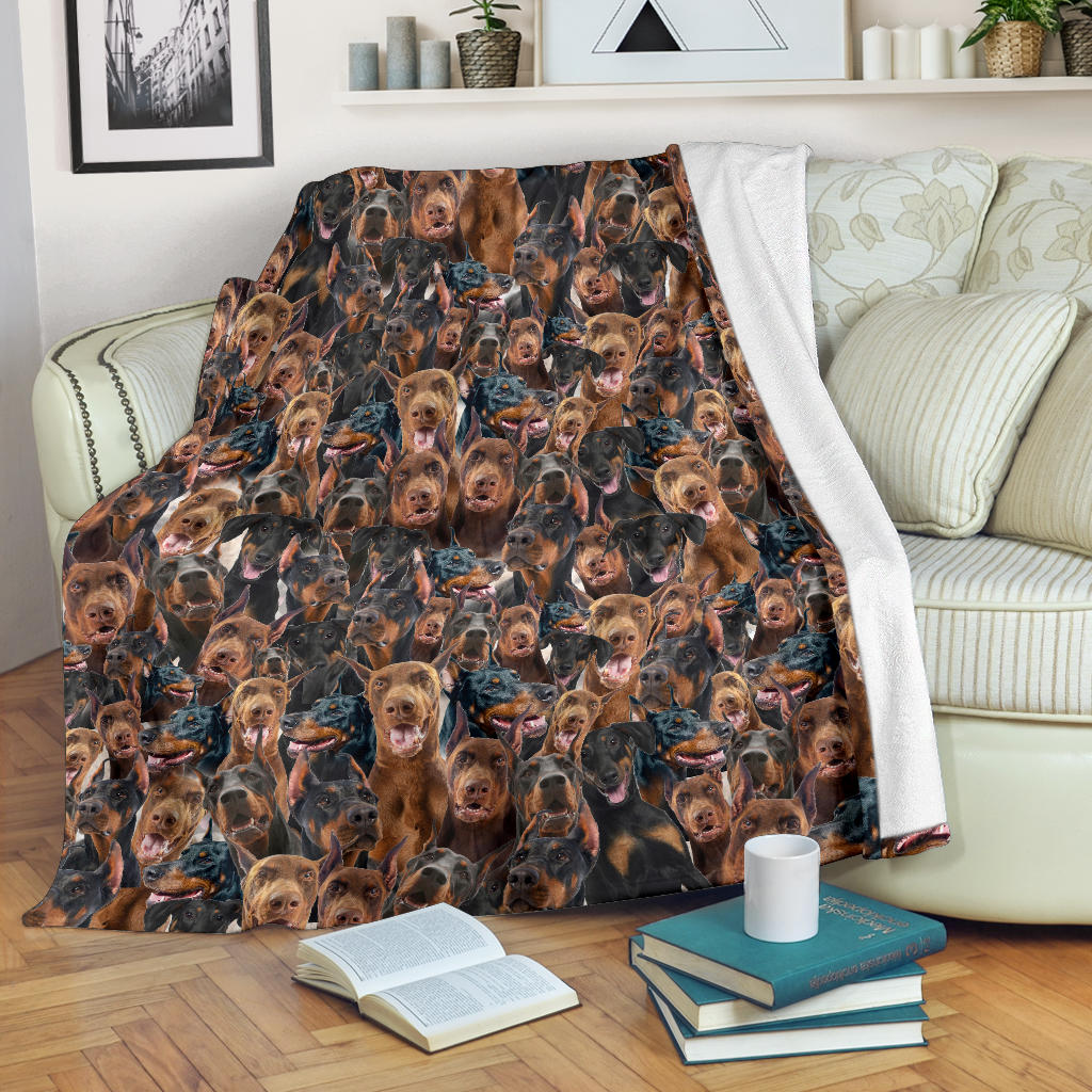 Doberman Pinscher Full Face Blanket