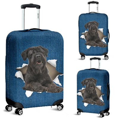 Black Russian Terrier Torn Paper Luggage Covers