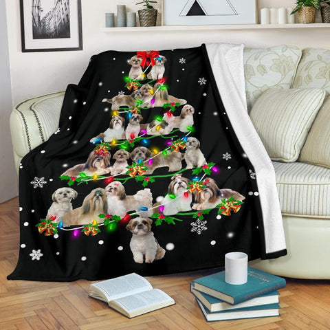 Shih Tzu Christmas Tree Blanket