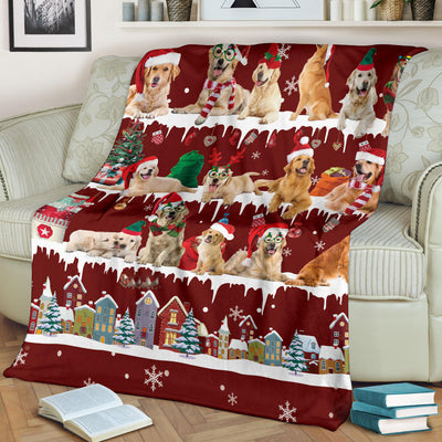 Golden Retriever Snow Christmas Blanket