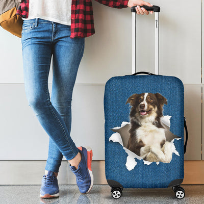 Border Collie Torn Paper Luggage Covers