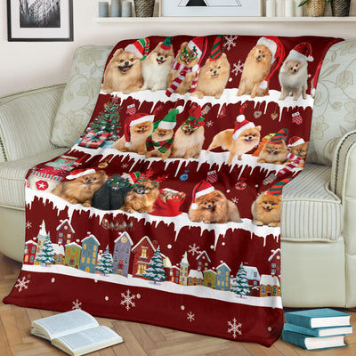 Pomeranian Snow Christmas Blanket