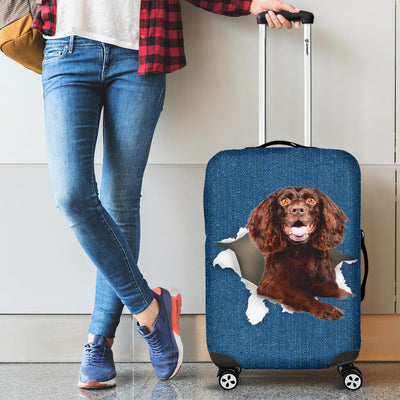 Boykin Spaniel Torn Paper Luggage Covers