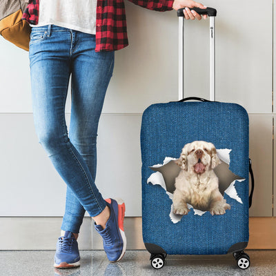 Clumber Spaniel Torn Paper Luggage Covers