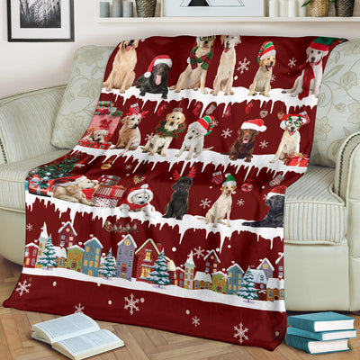 Labrador Retriever Snow Christmas Blanket