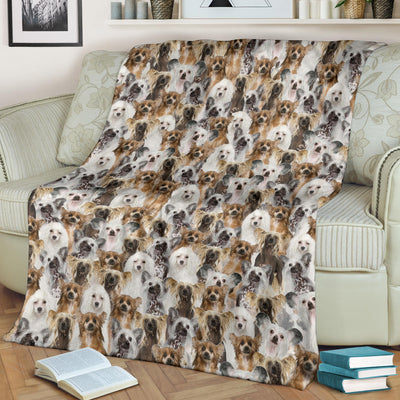 Chinese Crested Dog Full Face Blanket