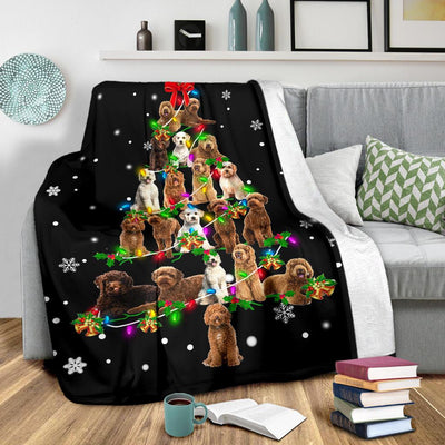 Labradoodle Christmas Tree Blanket