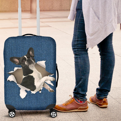 French Bulldog Torn Paper Luggage Covers