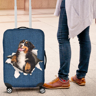 Bernese Mountain Dog Torn Paper Luggage Covers