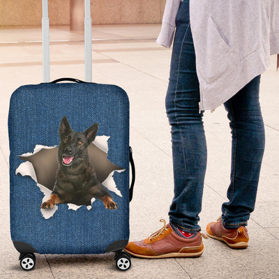 Dutch Shepherd Torn Paper Luggage Covers