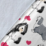 Bearded Collie Heart Blanket