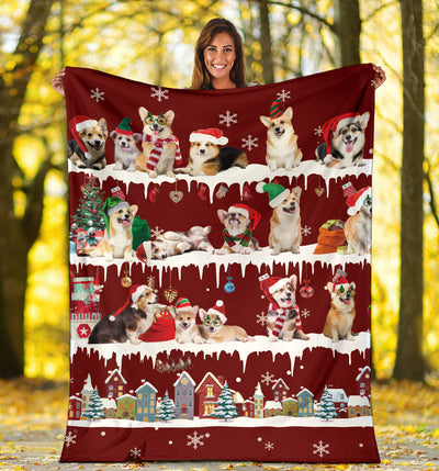 Welsh Corgi Snow Christmas Blanket