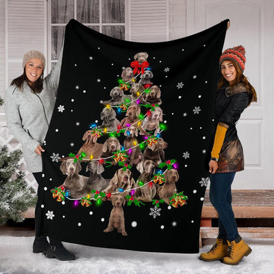 Weimaraner Christmas Tree Blanket