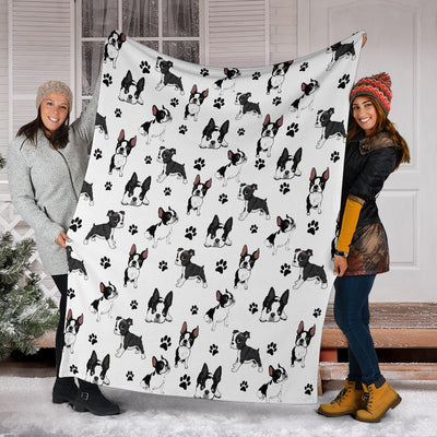 Boston Terrier Paw Blanket