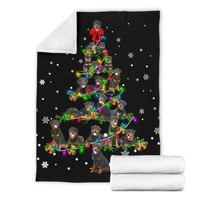 Rottweiler Christmas Tree Blanket