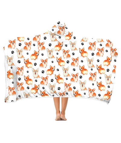 Welsh Corgi Paw Hooded Blanket