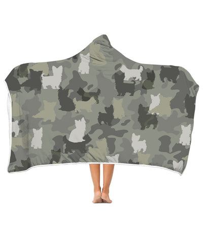 Yorkshire Terrier Camo 3D Hooded Blanket