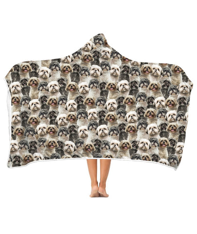 Shih Tzu Full Face Hooded Blanket
