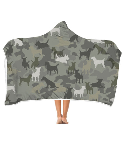 Jack Russell Terrier Camo 3D Hooded Blanket