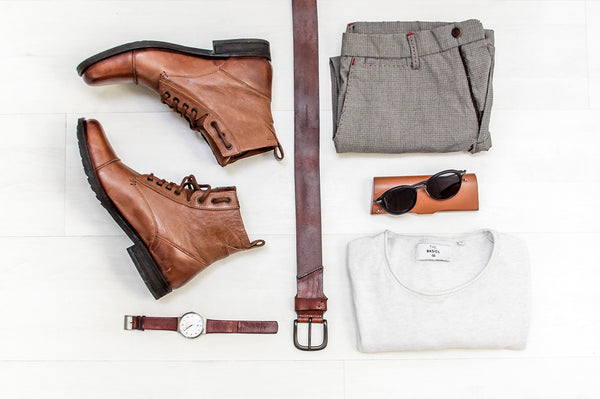 Leather boots and accessories