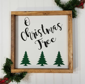 "O Christmas Tree Farmhouse Christmas Decor Sign 12"" x 12"""