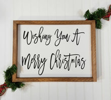 Wishing You A Merry Christmas Framed Farmhouse Wood Sign 12 x 17